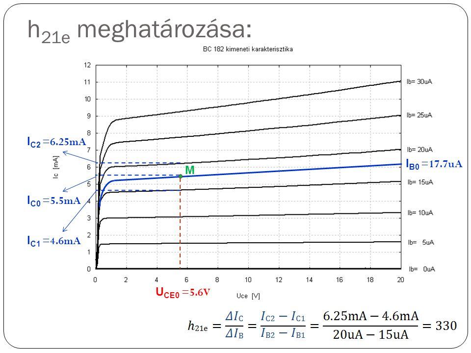 h21e meghatározása: IC2 =6.25mA IB0 =17.7uA M IC0 =5.5mA IC1 =4.6mA