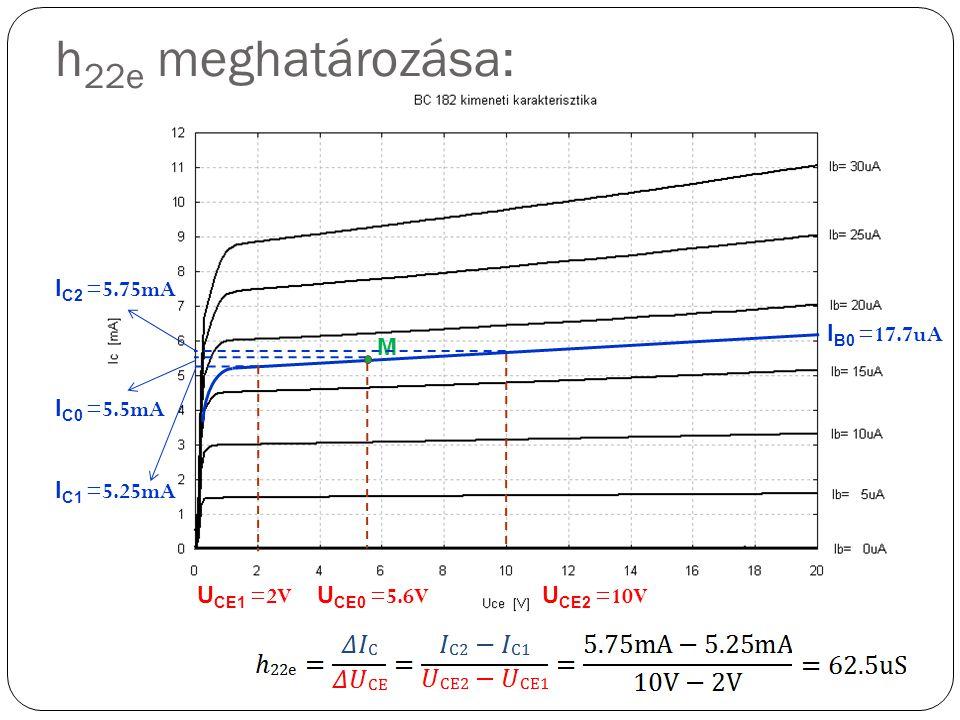 h22e meghatározása: IC2 =5.75mA IB0 =17.7uA M IC0 =5.5mA IC1 =5.25mA