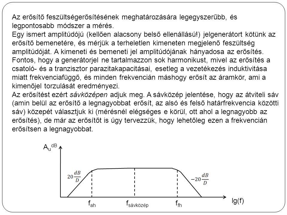 Az erősítő feszültségerősítésének meghatározására legegyszerűbb, és legpontosabb módszer a mérés.