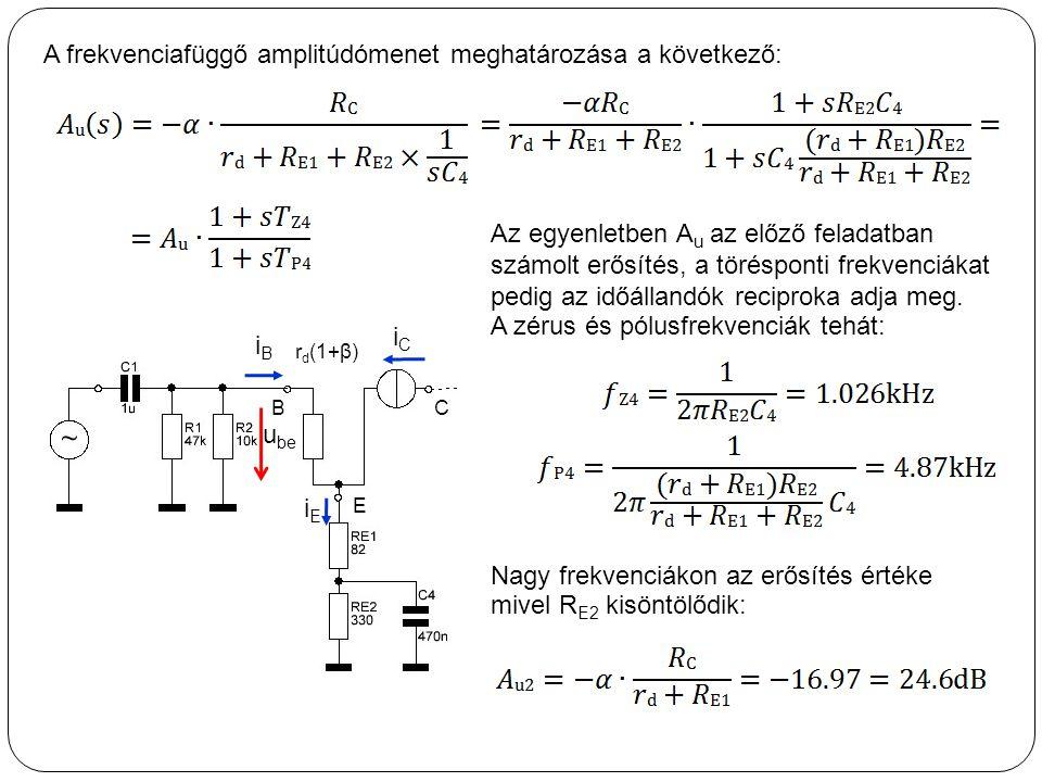 A frekvenciafüggő amplitúdómenet meghatározása a következő: