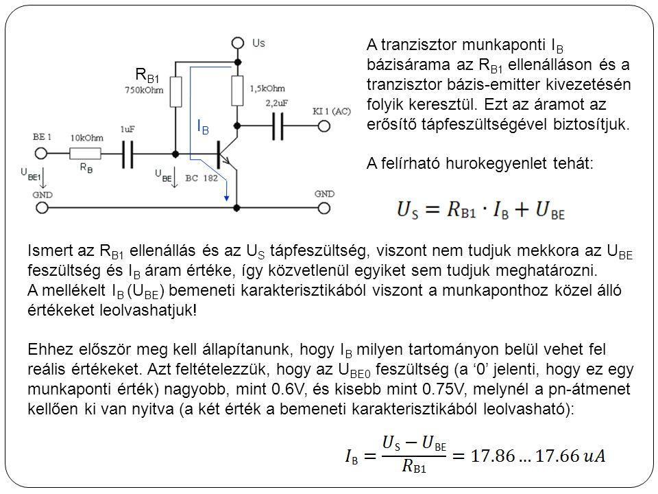A tranzisztor munkaponti IB bázisárama az RB1 ellenálláson és a tranzisztor bázis-emitter kivezetésén folyik keresztül. Ezt az áramot az erősítő tápfeszültségével biztosítjuk.