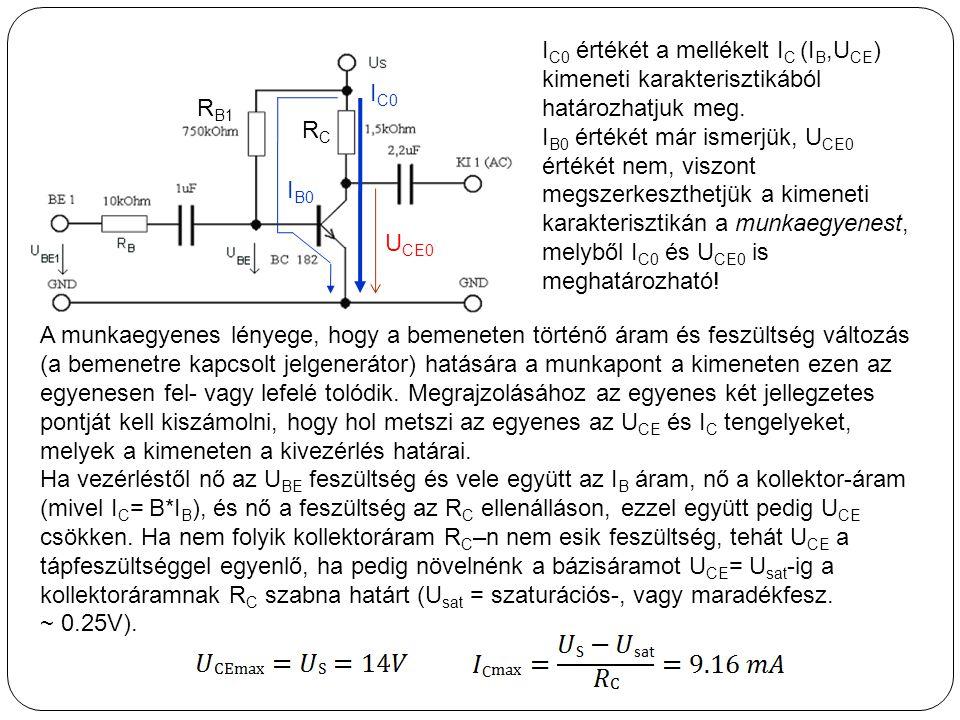 IC0 értékét a mellékelt IC (IB,UCE) kimeneti karakterisztikából határozhatjuk meg.