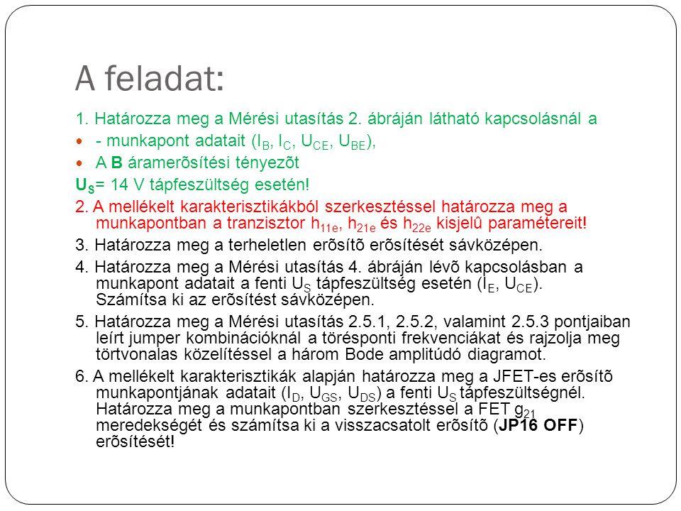 A feladat: 1. Határozza meg a Mérési utasítás 2. ábráján látható kapcsolásnál a. - munkapont adatait (IB, IC, UCE, UBE),