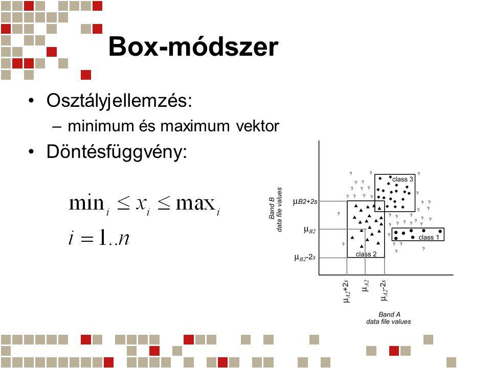 Box-módszer Osztályjellemzés: Döntésfüggvény:
