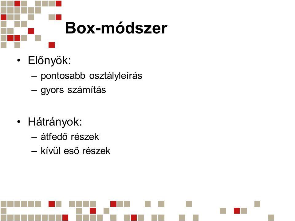 Box-módszer Előnyök: Hátrányok: pontosabb osztályleírás gyors számítás