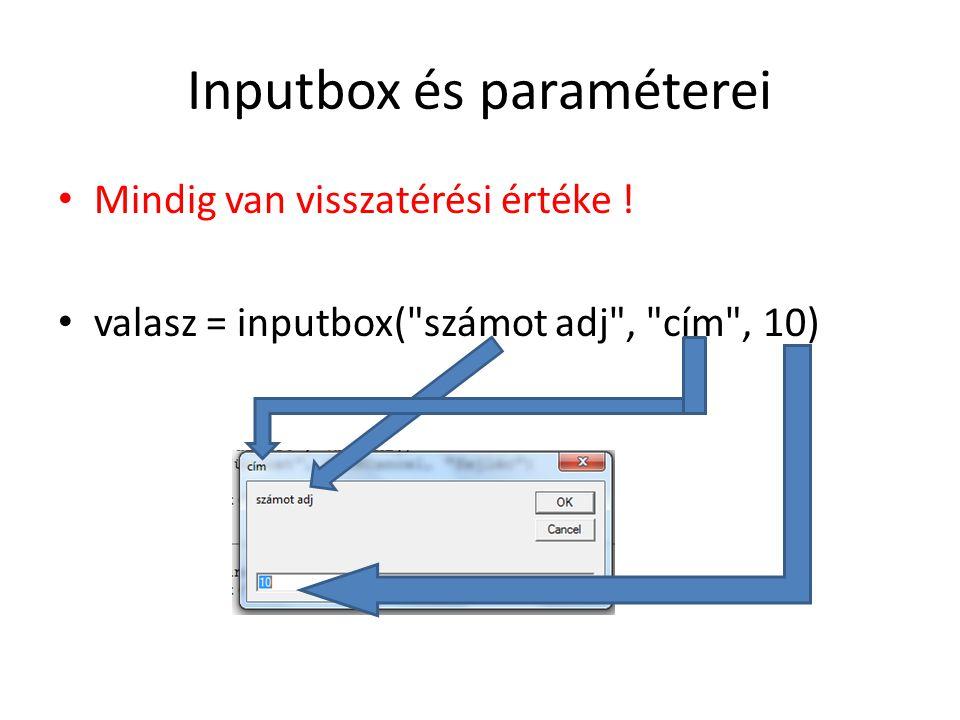 Inputbox és paraméterei
