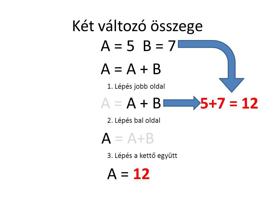 Két változó összege A = 5 B = 7 A = A + B A = A + B 5+7 = 12 A = A+B