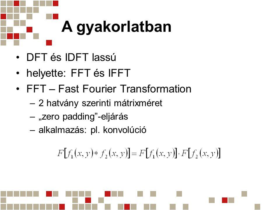 A gyakorlatban DFT és IDFT lassú helyette: FFT és IFFT