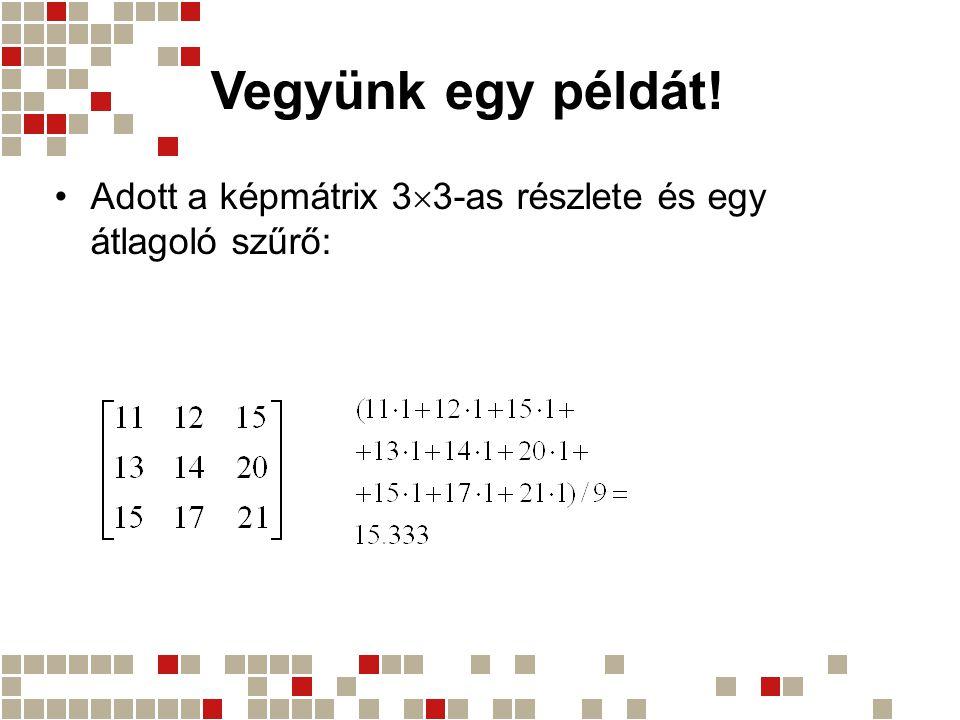 Vegyünk egy példát! Adott a képmátrix 33-as részlete és egy átlagoló szűrő:
