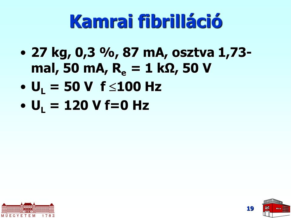 Kamrai fibrilláció 27 kg, 0,3 %, 87 mA, osztva 1,73-mal, 50 mA, Re = 1 kΩ, 50 V. UL = 50 V f 100 Hz.