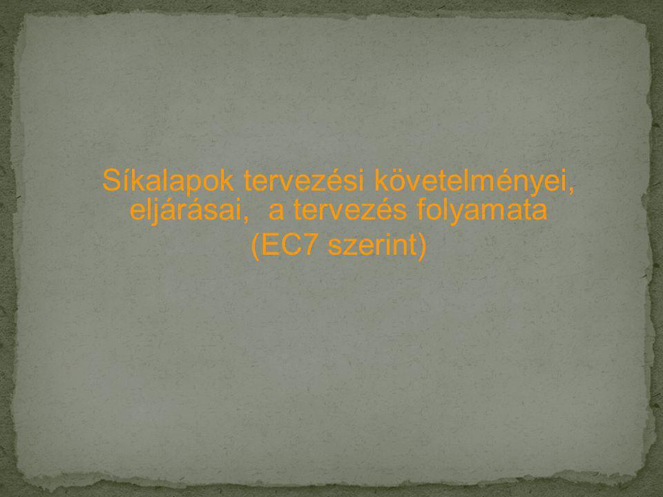 Síkalapok tervezési követelményei, eljárásai, a tervezés folyamata (EC7 szerint)