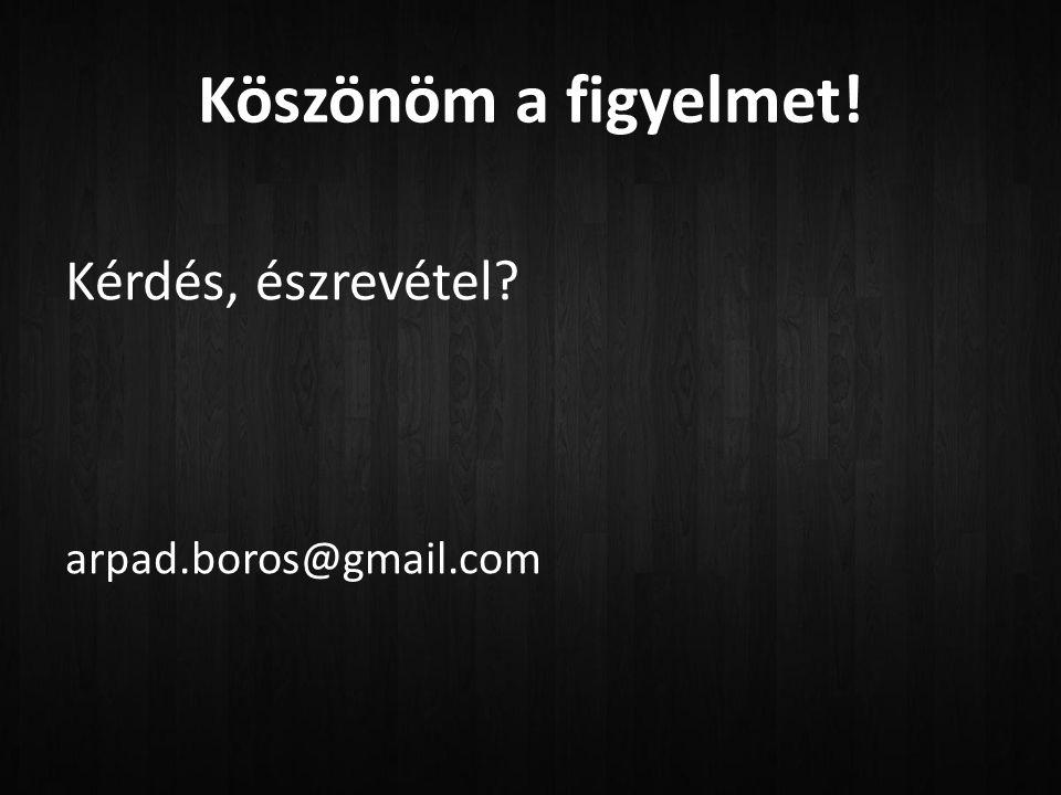 Köszönöm a figyelmet! Kérdés, észrevétel arpad.boros@gmail.com