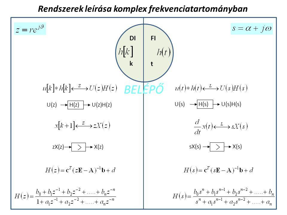 BELÉPŐ Rendszerek leírása komplex frekvenciatartományban DI FI k t