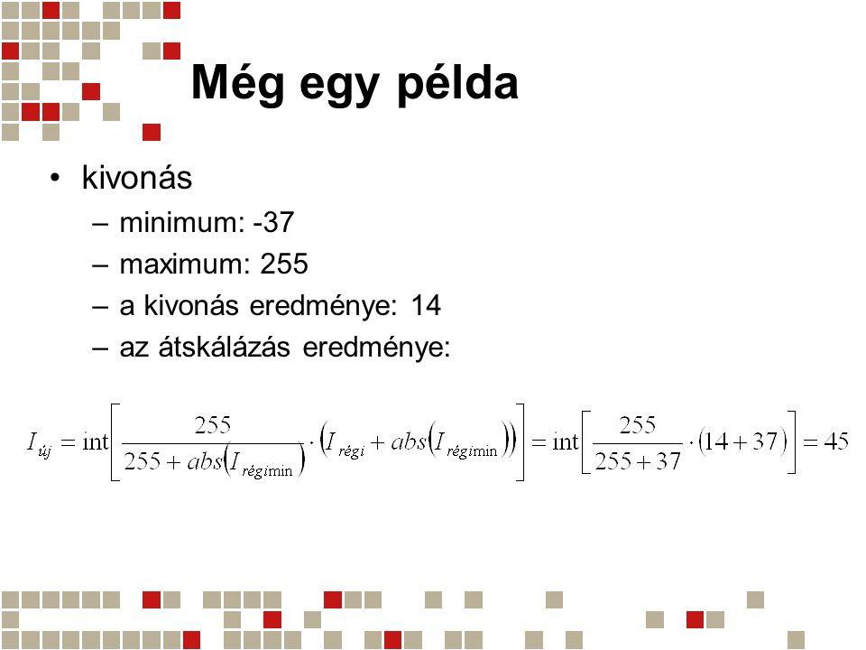 Még egy példa kivonás minimum: -37 maximum: 255