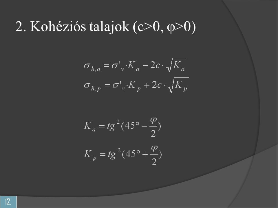 2. Kohéziós talajok (c>0, φ>0)