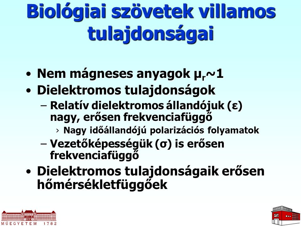 Biológiai szövetek villamos tulajdonságai