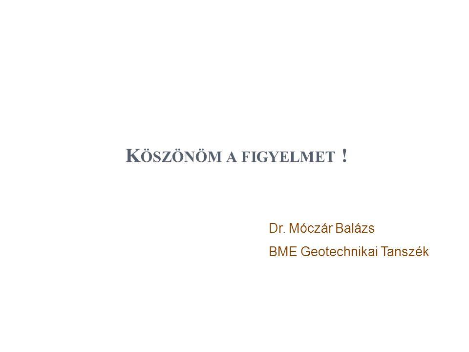 Köszönöm a figyelmet ! Dr. Móczár Balázs BME Geotechnikai Tanszék