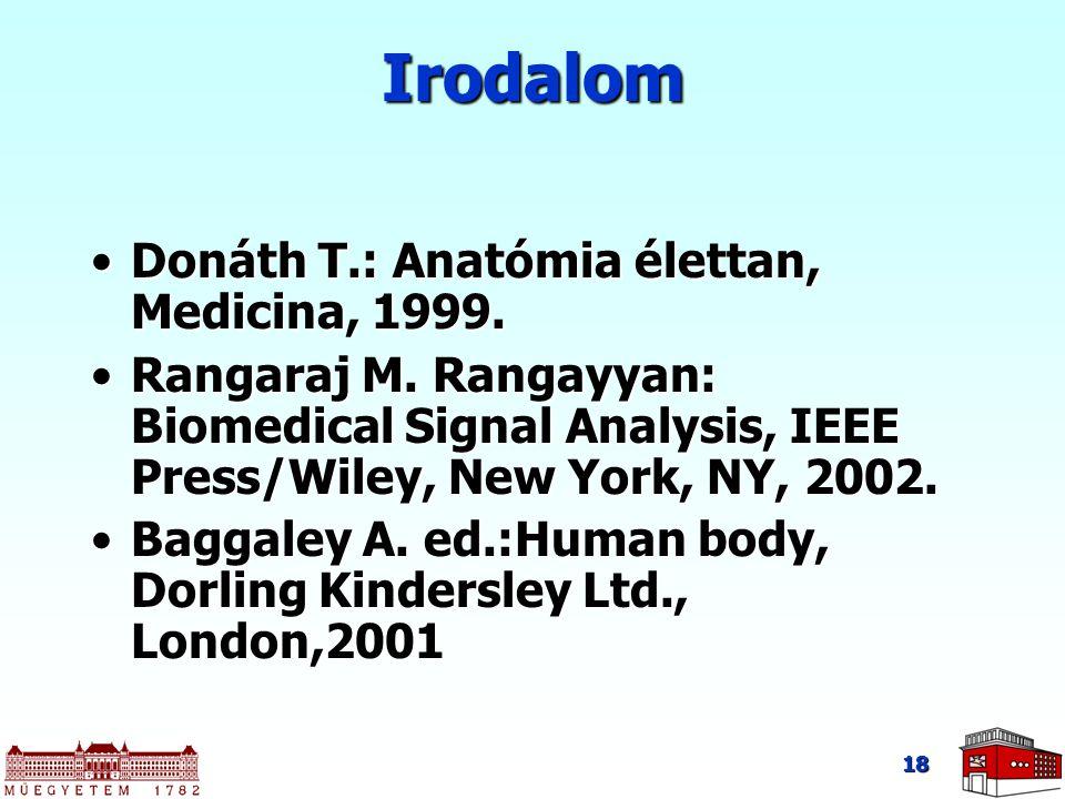 Irodalom Donáth T.: Anatómia élettan, Medicina, 1999.