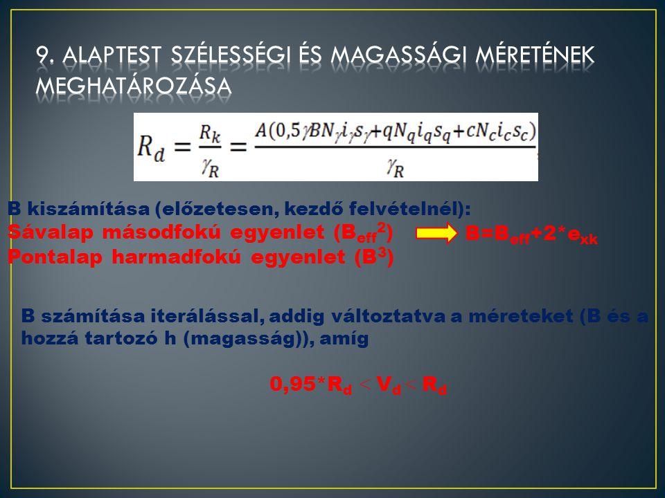 9. alaptest szélességi és magassági méretének meghatározása