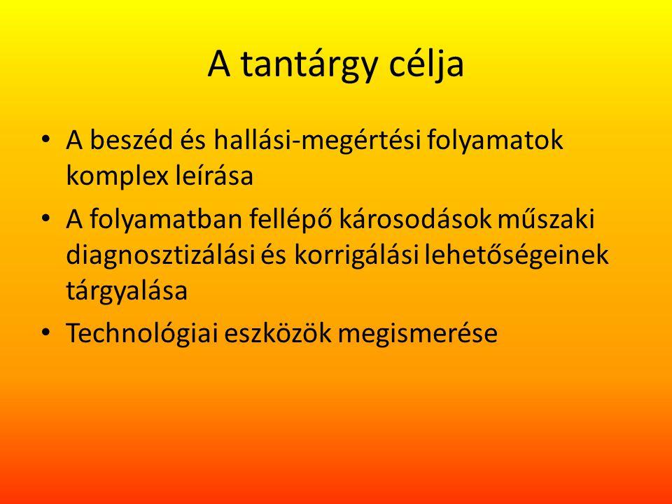 A tantárgy célja A beszéd és hallási-megértési folyamatok komplex leírása.