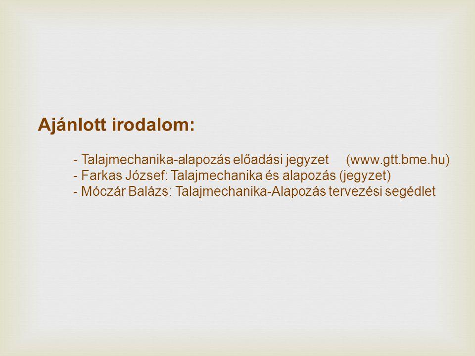 Ajánlott irodalom: - Talajmechanika-alapozás előadási jegyzet (www.gtt.bme.hu) - Farkas József: Talajmechanika és alapozás (jegyzet)