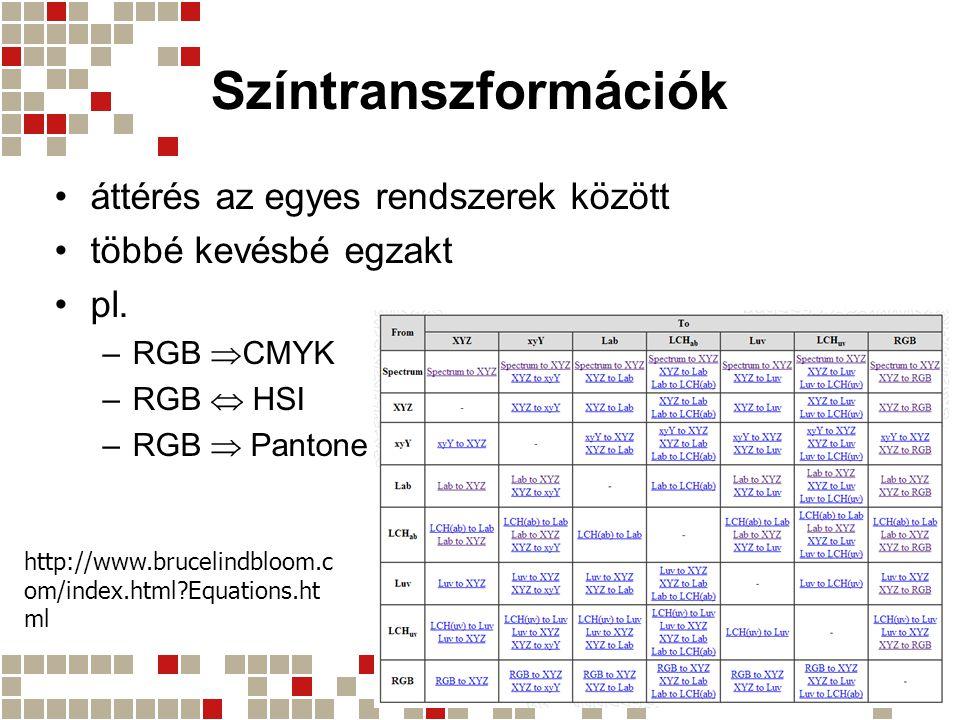 Színtranszformációk áttérés az egyes rendszerek között