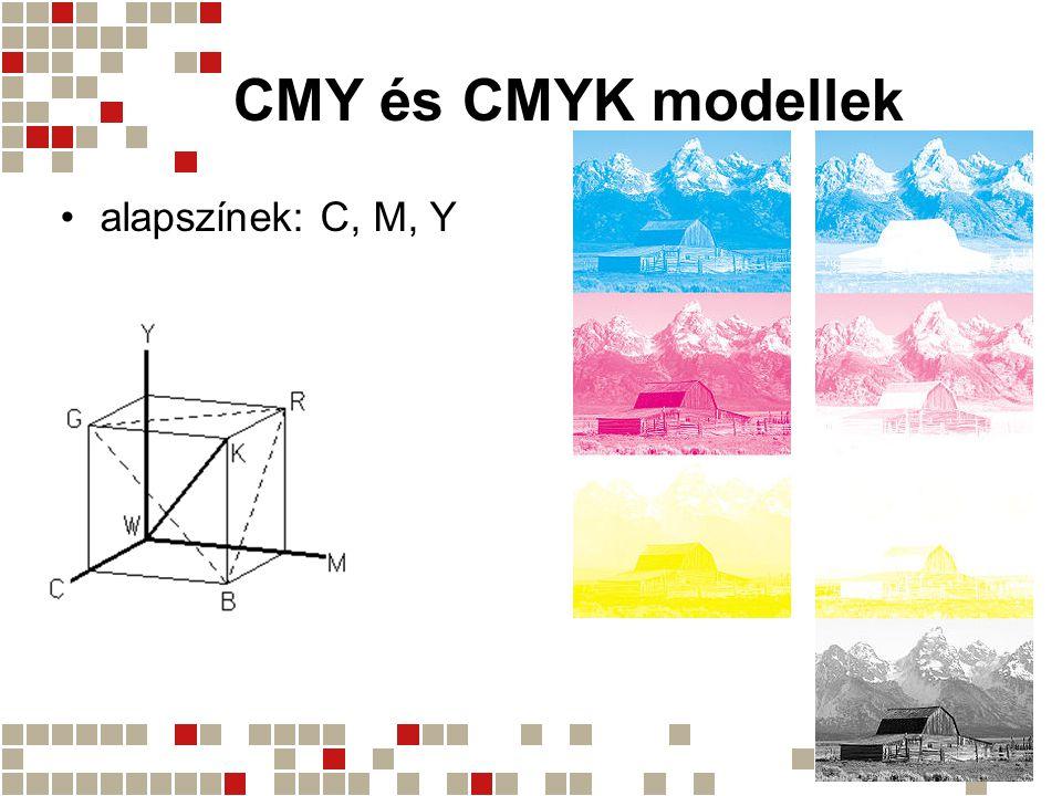 CMY és CMYK modellek alapszínek: C, M, Y