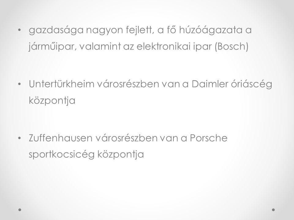 gazdasága nagyon fejlett, a fő húzóágazata a járműipar, valamint az elektronikai ipar (Bosch)