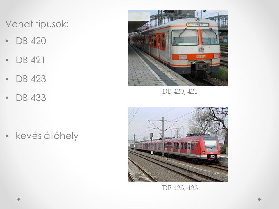 Vonat típusok: DB 420 DB 421 DB 423 DB 433 kevés állóhely DB 420, 421