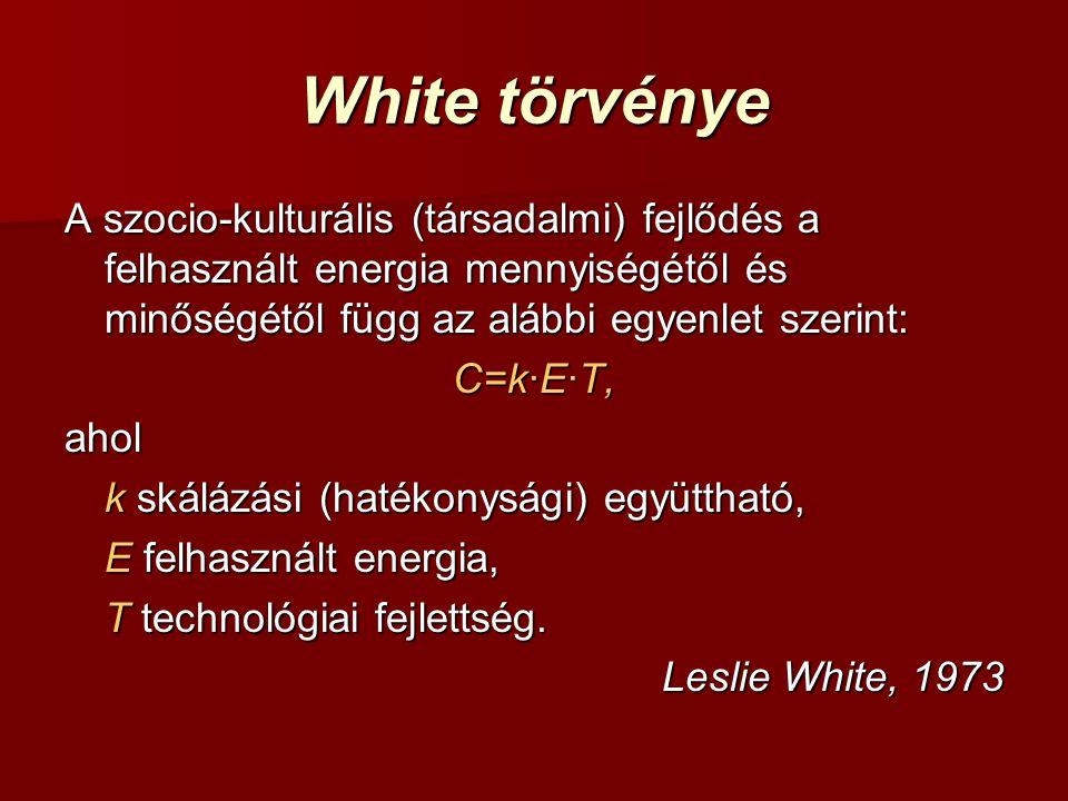White törvénye A szocio-kulturális (társadalmi) fejlődés a felhasznált energia mennyiségétől és minőségétől függ az alábbi egyenlet szerint: