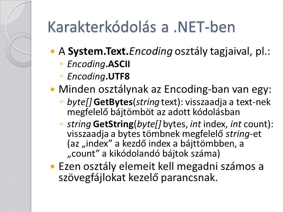 Karakterkódolás a .NET-ben