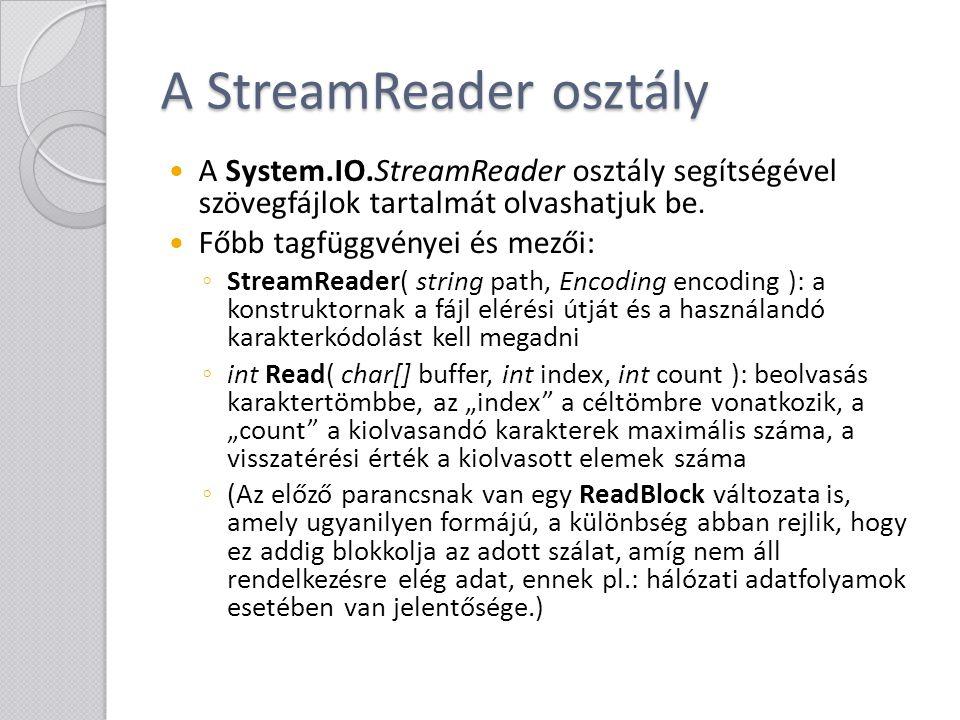 A StreamReader osztály