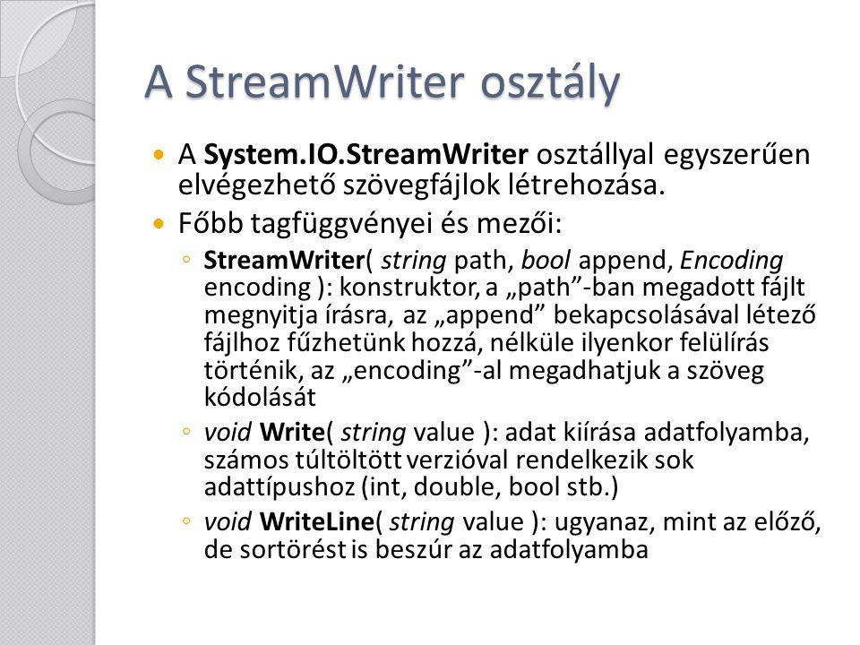 A StreamWriter osztály