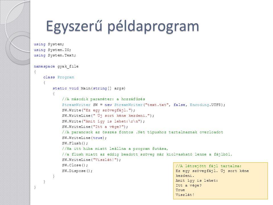 Egyszerű példaprogram
