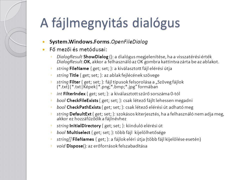 A fájlmegnyitás dialógus