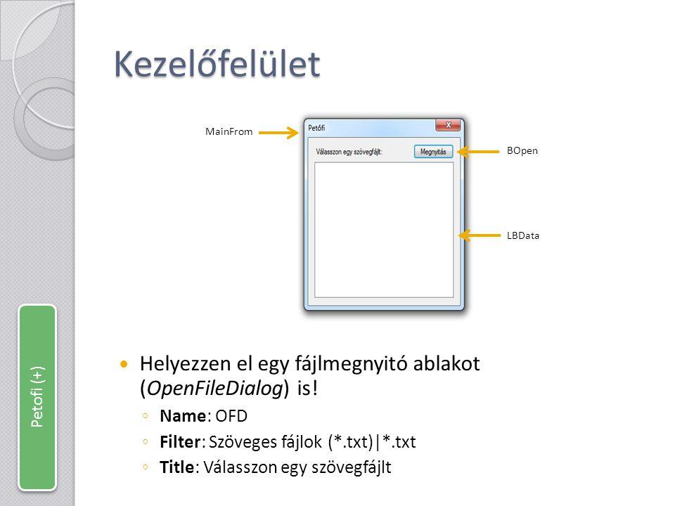 Kezelőfelület MainFrom. LBData. BOpen. Helyezzen el egy fájlmegnyitó ablakot (OpenFileDialog) is!