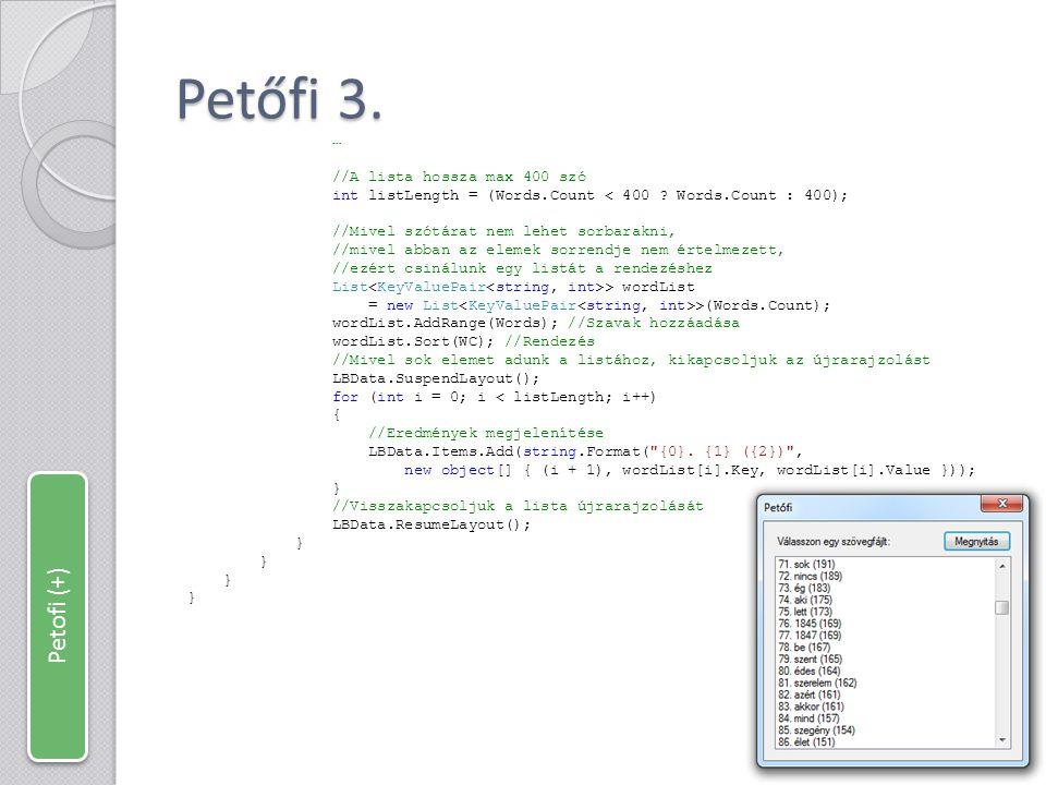 Petőfi 3. Petofi (+) … //A lista hossza max 400 szó