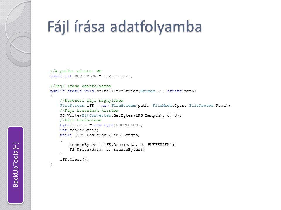 Fájl írása adatfolyamba
