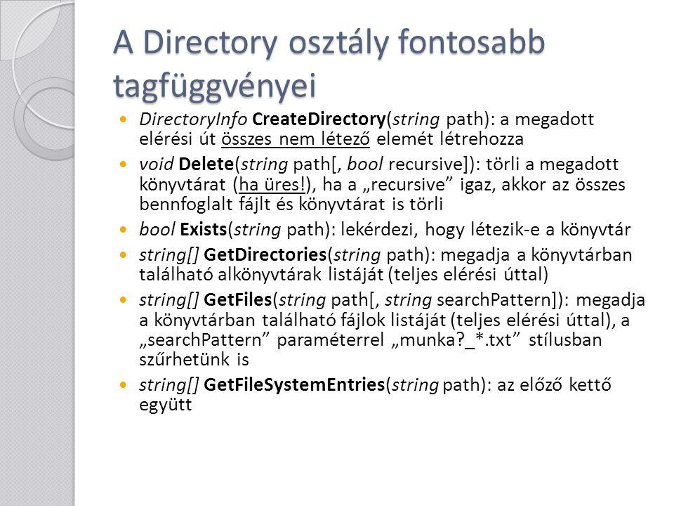 A Directory osztály fontosabb tagfüggvényei