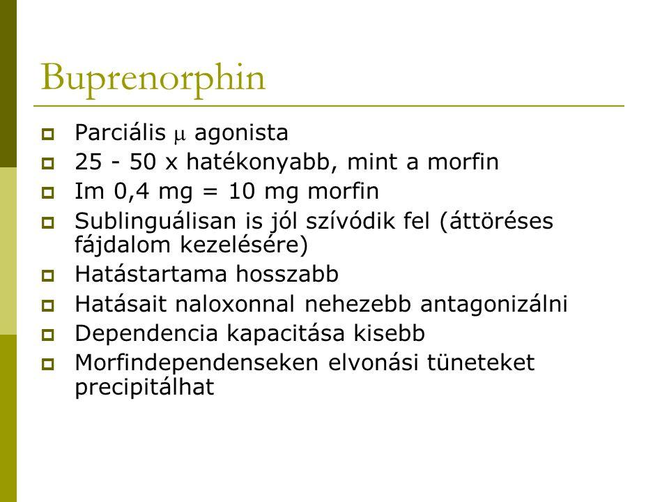 Buprenorphin Parciális  agonista 25 - 50 x hatékonyabb, mint a morfin