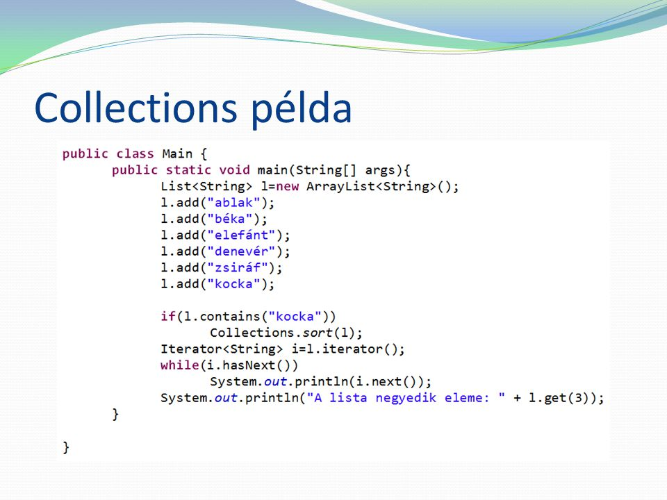 Collections példa