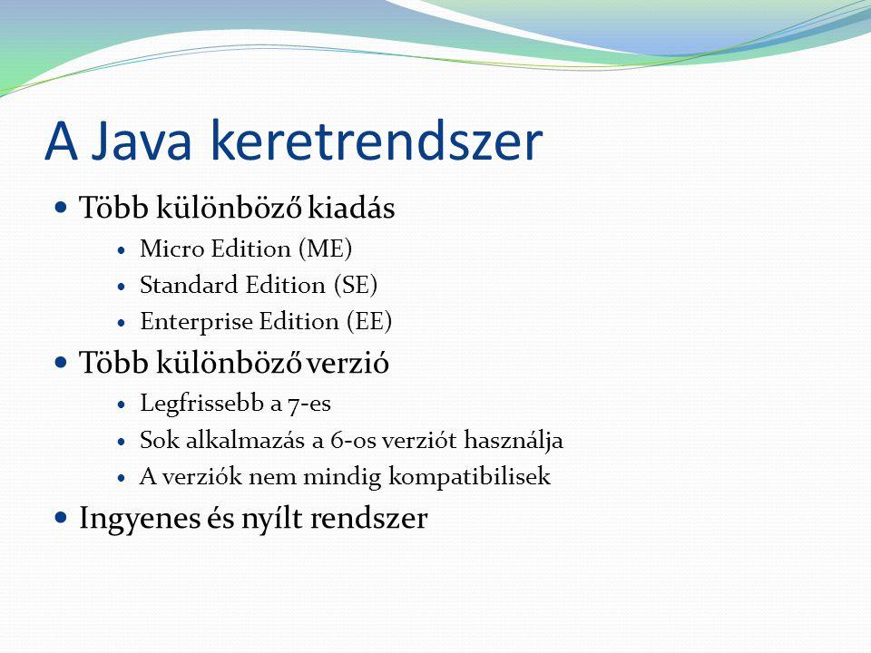 A Java keretrendszer Több különböző kiadás Több különböző verzió