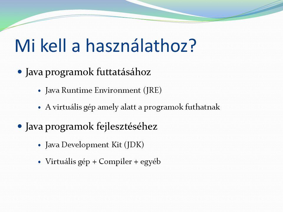 Mi kell a használathoz Java programok futtatásához