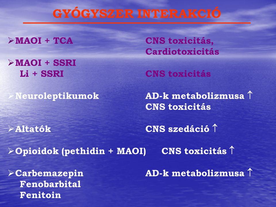 GYÓGYSZER INTERAKCIÓ MAOI + TCA CNS toxicitás, Cardiotoxicitás
