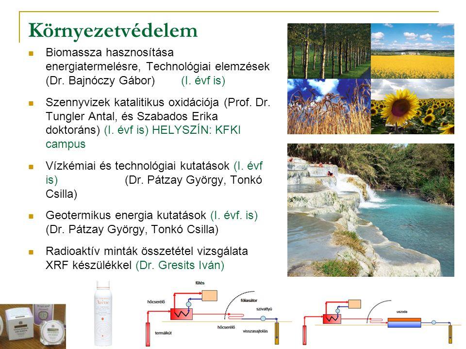 Környezetvédelem Biomassza hasznosítása energiatermelésre, Technológiai elemzések (Dr. Bajnóczy Gábor) (I. évf is)