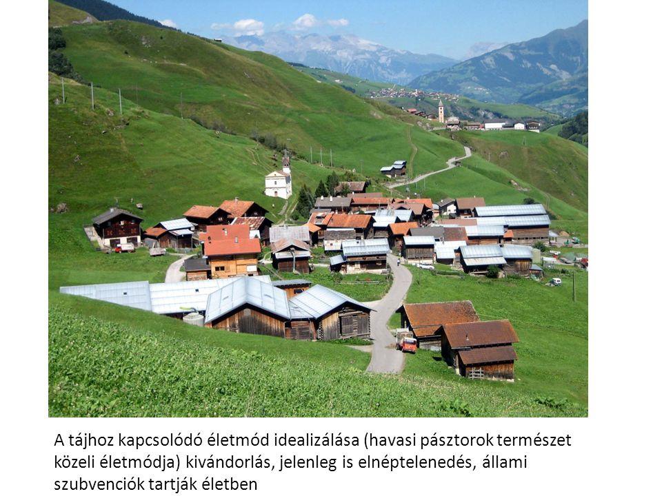 A tájhoz kapcsolódó életmód idealizálása (havasi pásztorok természet közeli életmódja) kivándorlás, jelenleg is elnéptelenedés, állami szubvenciók tartják életben
