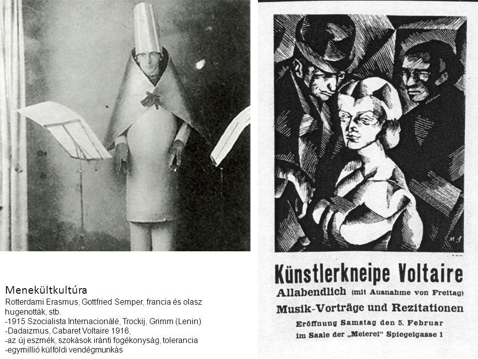 Menekültkultúra Rotterdami Erasmus, Gottfried Semper, francia és olasz hugenották, stb. -1915 Szocialista Internacionálé, Trockij, Grimm (Lenin)
