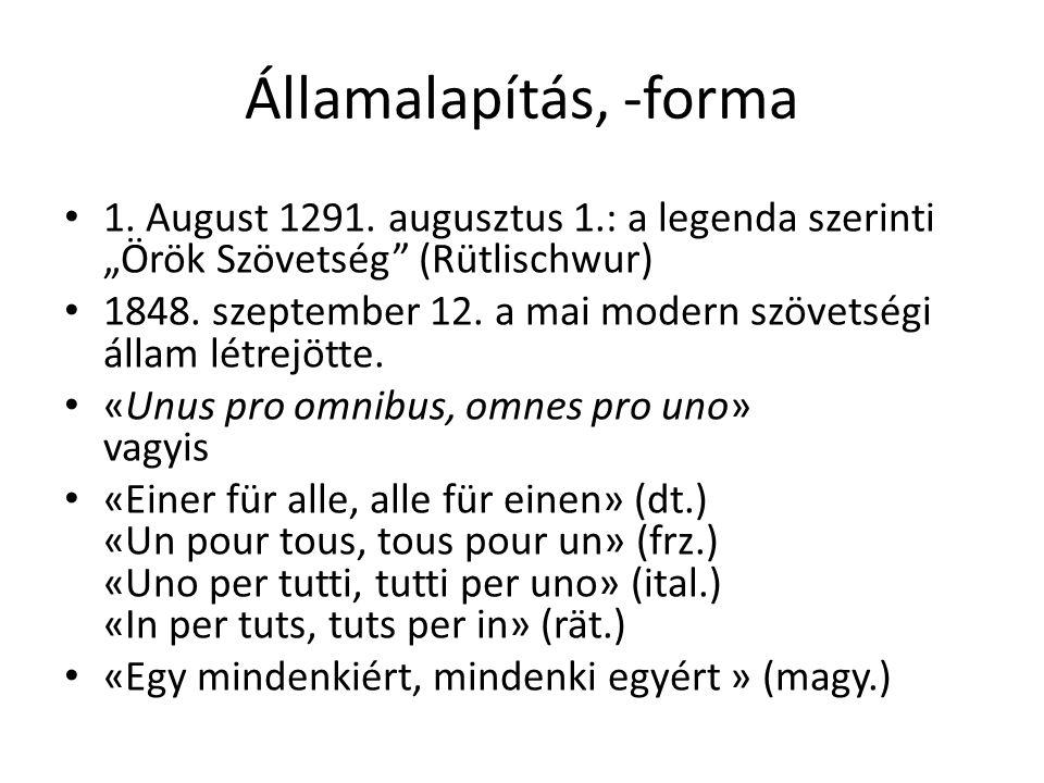 """Államalapítás, -forma 1. August 1291. augusztus 1.: a legenda szerinti """"Örök Szövetség (Rütlischwur)"""