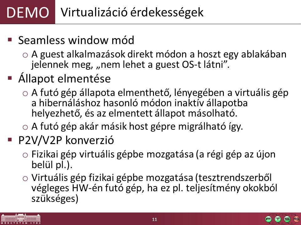 Virtualizáció érdekességek