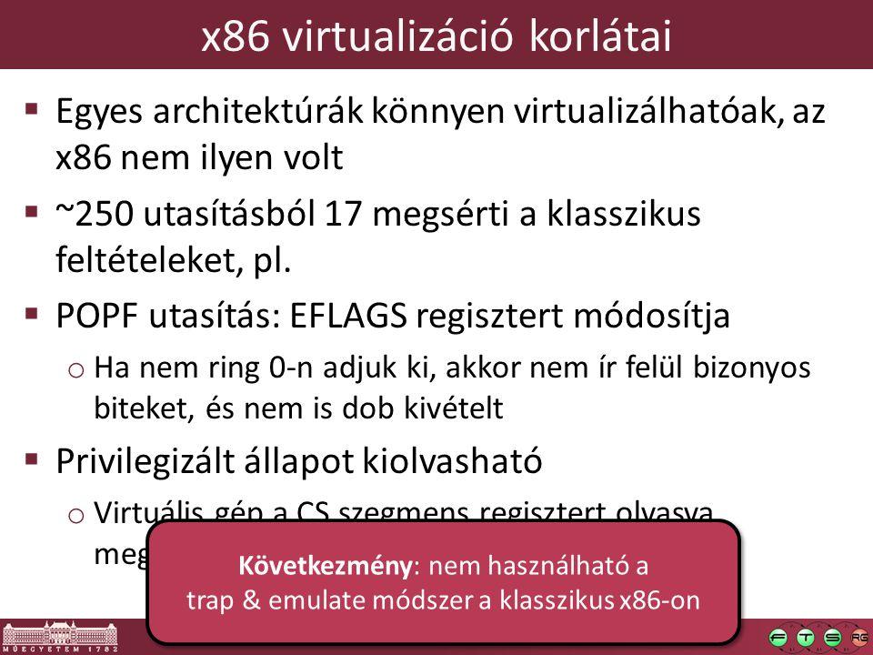x86 virtualizáció korlátai